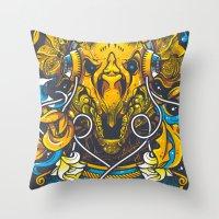 Golden Tricerapod Throw Pillow