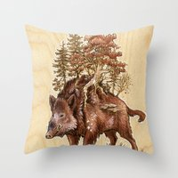 Boar of the Woods Throw Pillow