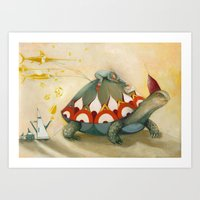 turtle Art Prints featuring Turtle by Darja Charapova
