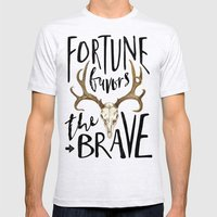 Fortune Favors The Brave Mens Fitted Tee Ash Grey SMALL