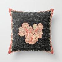 Burlap & Flowers 2 Throw Pillow