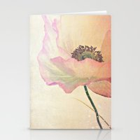 Inspired by the light -- Pink Poppy Flower Stationery Cards
