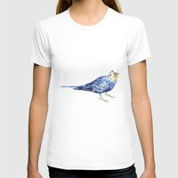 Blueberry The Budgie Womens Fitted Tee White SMALL