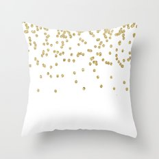 Sparkling golden glitter confetti Throw Pillow