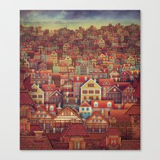 Cute City Street Scene ,… Canvas Print