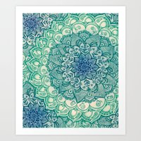 mandala Art Prints featuring Emerald Doodle by micklyn