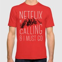 Netflix Is Calling Mens Fitted Tee Red SMALL
