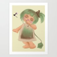 Green Tea Girl Art Print