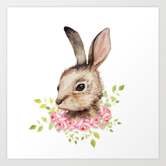 Easter Bunny With Flower Wreath Art Print By