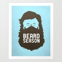 logo Art Prints featuring Beard Season by Chase Kunz