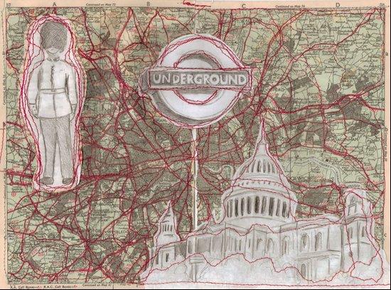 London Sewn Drawing Art Print