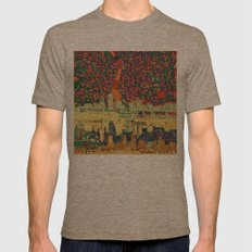 Portland City Skyline Mens Fitted Tee Tri-Coffee SMALL