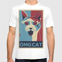 ✩ The OMG Cat Poster Mens Fitted Tee White SMALL