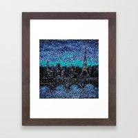 Eiffel Tower, Paris, Mosaic Night Framed Art Print