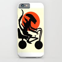 iPhone & iPod Case featuring alien on a chopper by ronnie mcneil