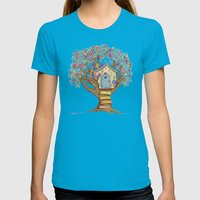 Live Simply, Love Trees Womens Fitted Tee Teal SMALL