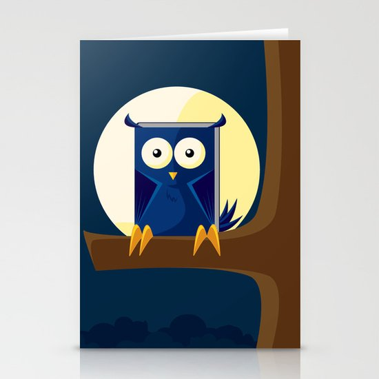 Book Owl Stationery Card