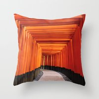 Thousand Torii Gates Throw Pillow