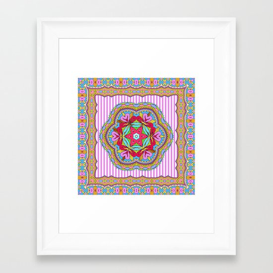 Mix&Match;  Pretty Pink Mandala Meditation pillow 03 Framed Art Print