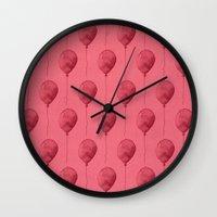 Balloons Watercolor Pattern Wall Clock