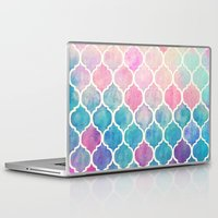 watercolor Laptop & iPad Skins featuring Rainbow Pastel Watercolor Moroccan Pattern by micklyn