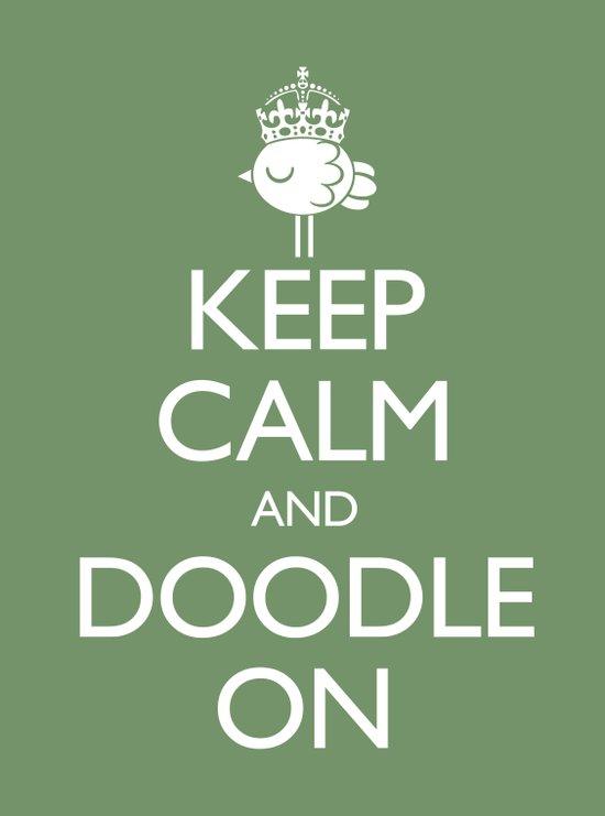 Keep Calm & Doodle On (Green) Art Print