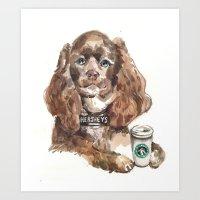Chocolate Cocker Spaniel Art Print