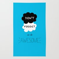 DFTBA TFIOS Nerdfighter Vlogbrothers Don't Forget to be Awesome, The Fault in Our Stars, John Green Rug