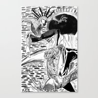 Spidey Vs Lizard Canvas Print
