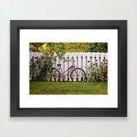 Bike With Fence & Flower… Framed Art Print