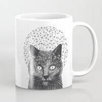 Dandelion black cat Mug