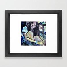 A GIRL ON THE BALCONY  Framed Art Print