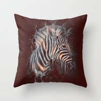DARK ZEBRA Throw Pillow