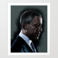 obama Art Prints featuring OBAMA by Marc Rodriguez