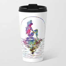 The Little Mermaid Ariel Silhouette Watercolor Travel Mug