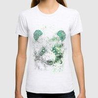 Green Panda Bear Womens Fitted Tee Ash Grey SMALL