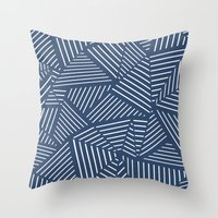 Abstraction Linear Zoom Navy Throw Pillow