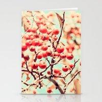 Botanical Malus, Crabapple Wild Apple Ripe Fruit on Tree Vintagely Stationery Cards