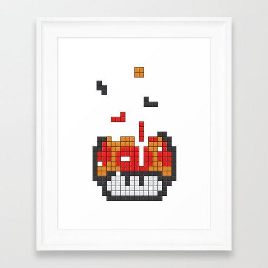 Super Mario Mushroom Tetris Framed Art Print