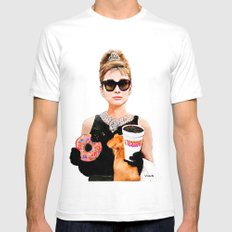 Breakfast at Dunkin Donuts - Audrey Hepburn Mens Fitted Tee White SMALL