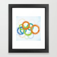 Digital Geometric Circles Framed Art Print