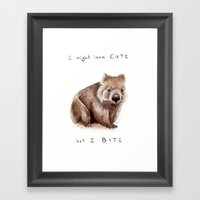I might look cute, but I bite Framed Art Print
