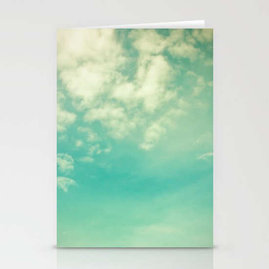 Retro Vintage Blue Turquoise Fall Sky and Clouds Stationery Card