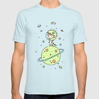 Space Dinosaur Mens Fitted Tee Light Blue SMALL