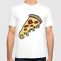 Pizza Mens Fitted Tee White SMALL