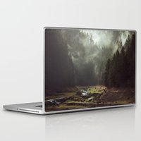 forest Laptop & iPad Skins featuring Foggy Forest Creek by Kevin Russ