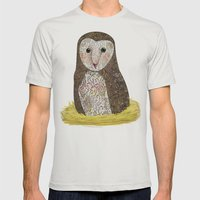 Barn Owl Mens Fitted Tee Silver SMALL