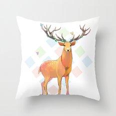 Deer and Diamonds Throw Pillow