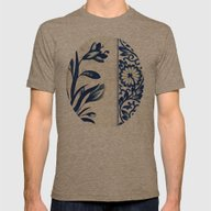 Blue Oriental Vintage Pa… Mens Fitted Tee Tri-Coffee SMALL