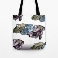 Animals in cars Tote Bag